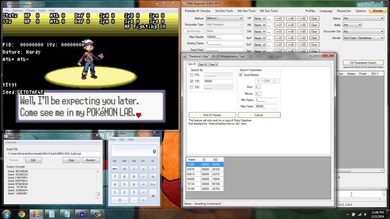 Pokemon RS Emulator RNG Abuse Lua Script (TID/SID)