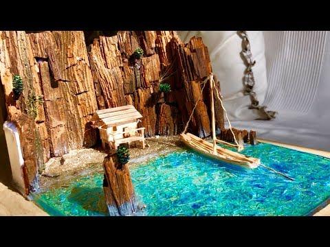 Blaue Lagune Diorama aus Epoxidharz - DIY