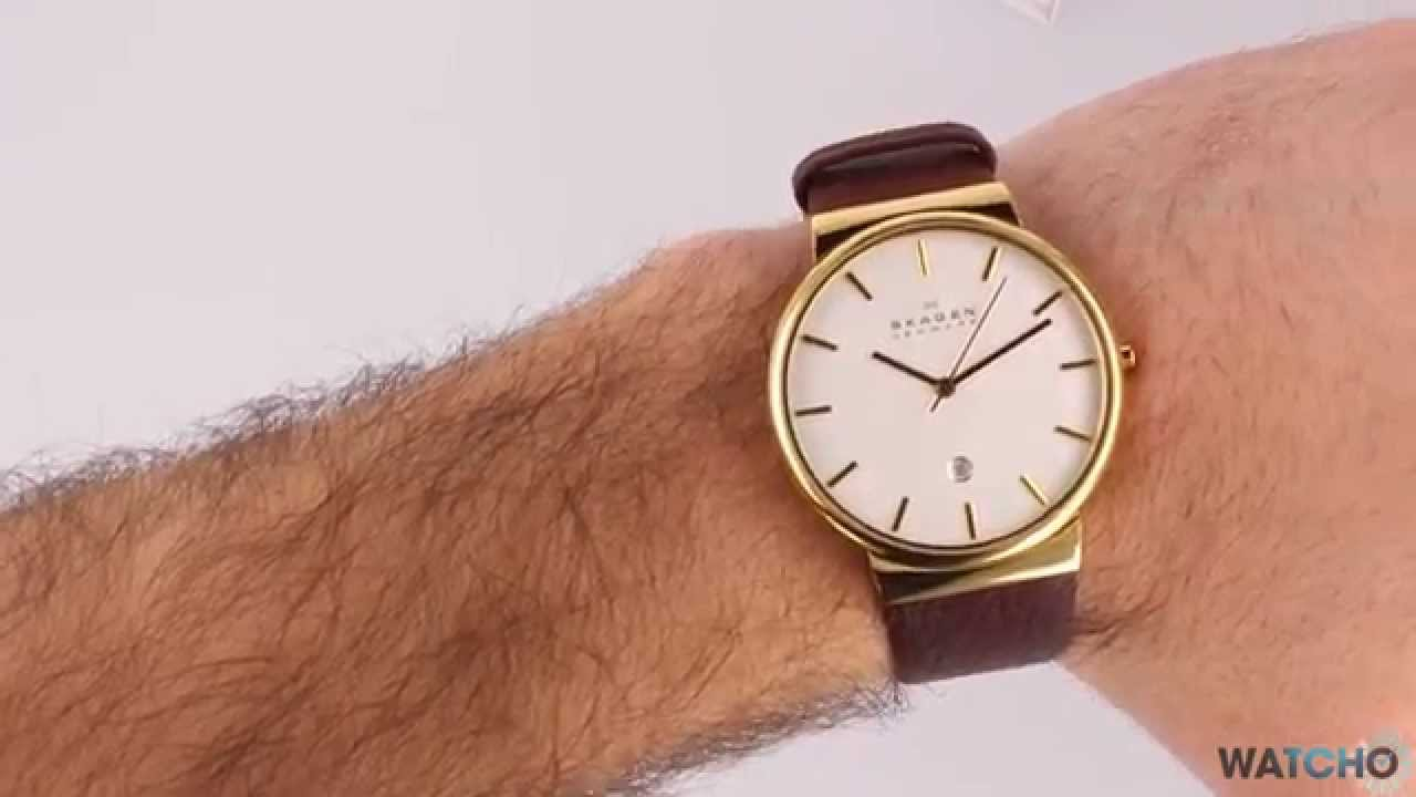 Watcho Co Uk Skagen Ancher Gold Leather Brown Strap