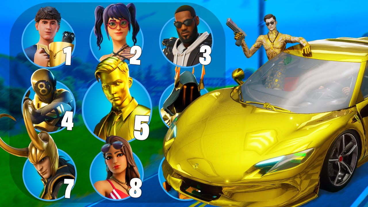 GUESS THE SKIN BY THE FERRARI STYLE - FORTNITE CHALLENGE.