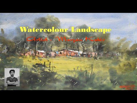 Watercolour Painting Demo । Simple Landscape। Marzan Kabir
