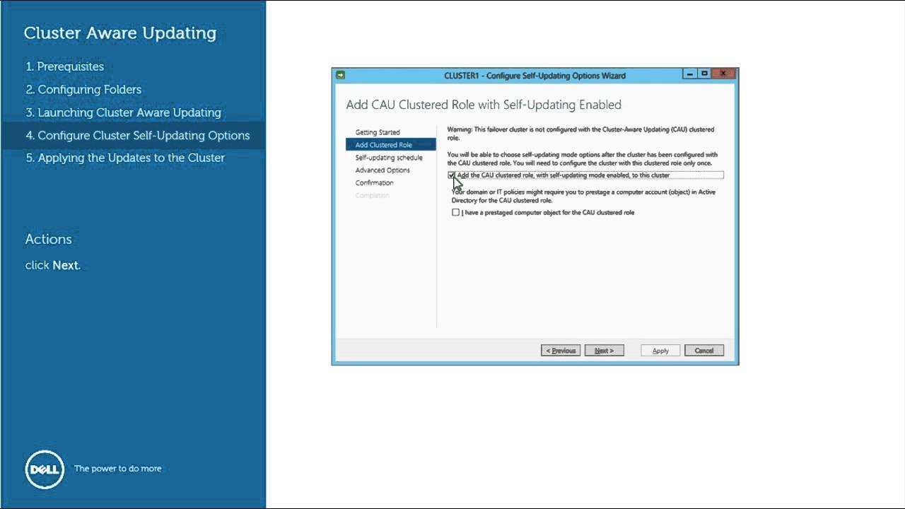 Dell Update Package (DUP) - Cluster Aware Updates (CAU)