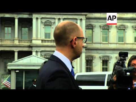Ukraine's Prime Minister spoke in the White House driveway after meeting with President Obama. He th