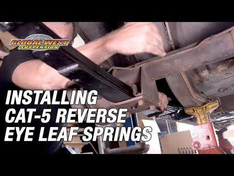 Tricks on installing a Global West CAT-5 reverse eye leaf on Camaro/Firebird 1970-81.