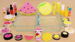 Watermelon vs Lemonade - Mixing Makeup Eyeshadow Into Slime ASMR 413 Satisfying Slime Video
