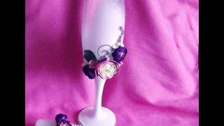 Свадебные бокалы своими руками с ранункулюсами / wedding glasses