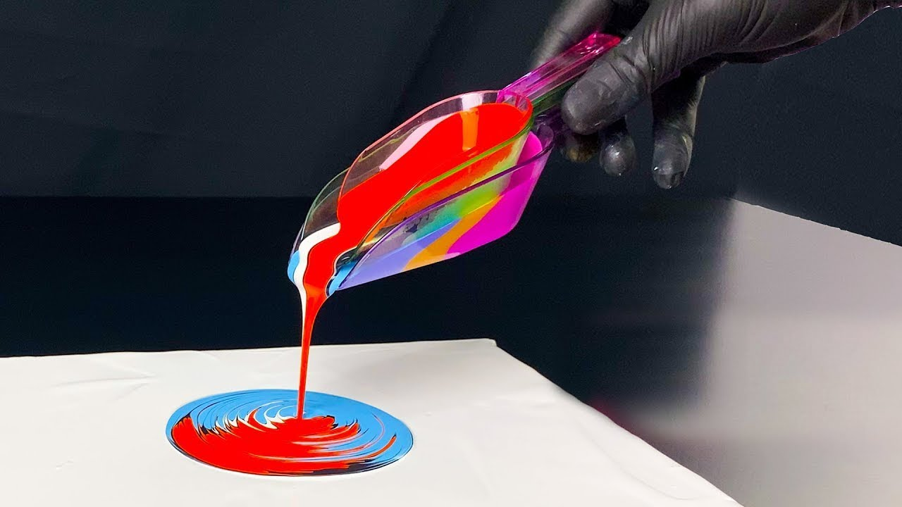 TRIPLE Acrylic Pouring In A Cascade Oddly Satisfying Fluid Art Stunning Effect