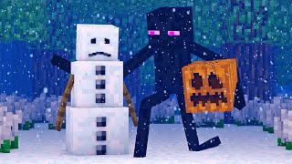 Snowman And Villager Life 1   Minecraft Animation
