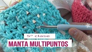 Manta multipuntos en crochet   clase 5º  manta multipuntos en ganchillo