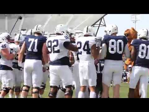 Penn State fan gets to line up on offense and score during the Blue-White game