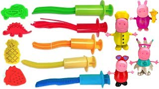 Learning Colors Video with Peppa Pig Dress Up and Play Doh Shapes