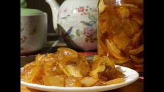 Янтарное варенье из яблок дольками. Заготовки на зиму