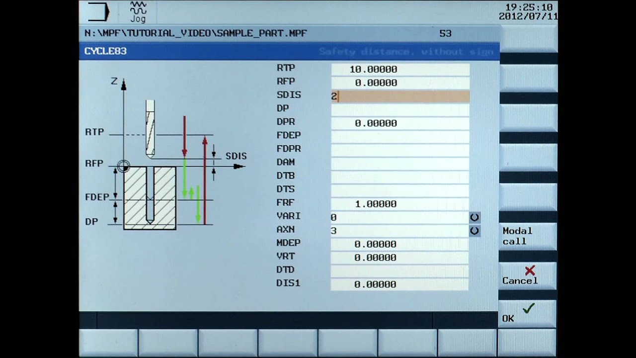 sinumerik 808d tutorial milling part 17 cycle83 drilling youtube
