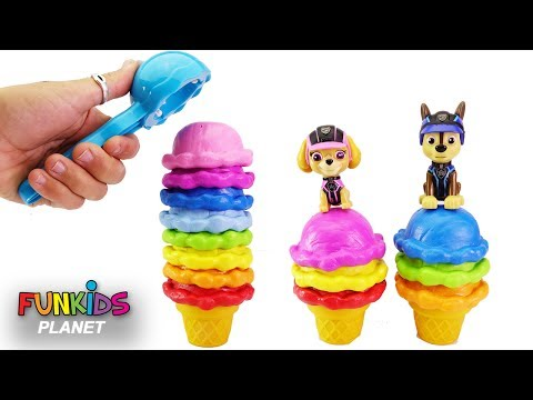 Learning Videos for Children: Paw Patrol Skye & Chase Ice Cream Stacking Candy