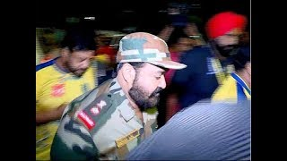Mohanlal in military uniform at Jawaharlal Nehru Stadium, Kochi