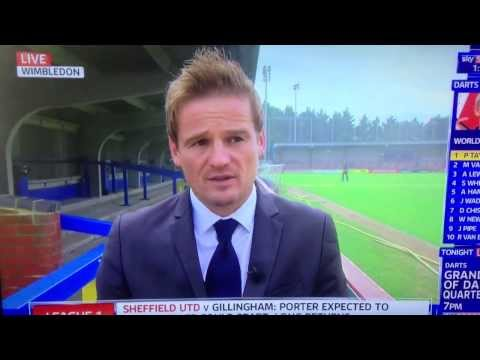 HD Neal Ardley AFC Wimbledon Manager gets soaked by the sprinkler Live on Sky Sports News