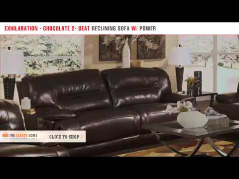 Ashley Exhilaration   Chocolate 2   Seat Reclining Sofa With Power   YouTube