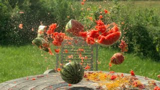 Rubber bands vs Water Melon - The Slow Mo Guys