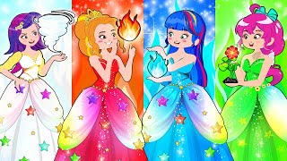 Fire Girl, Water Girl, Air Girl and Earth Girl / Four Elements at College!