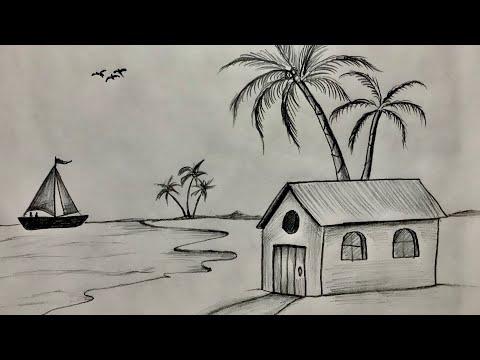 Karakalem Manzara Resmi Çizimi Nasıl Yapılır   Kara kalem Çizim Tekniği Kolay Manzara #2