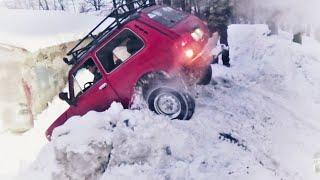 Кто хочет выбраться из леса, должен преодолеть ЭТО!!! Нивы УАЗы снег