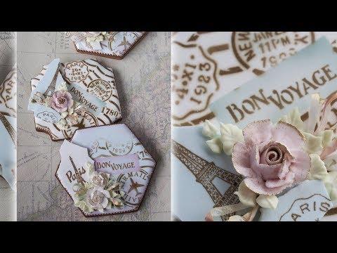"""""""Vintage Bon Voyage"""" Prettier Plaques Stenciled Cookie"""