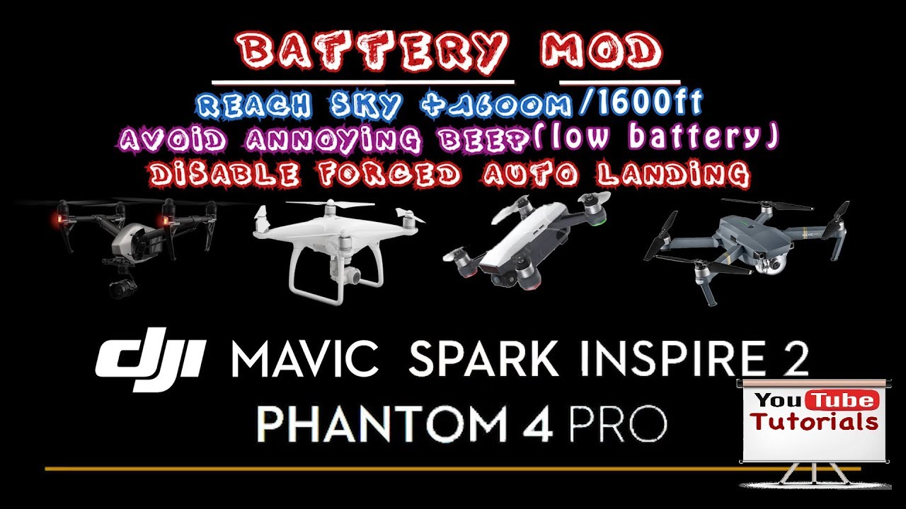 Dji drones tutorial | battery Mod | remove: annoying BEEP,forced landing &  Sky limit