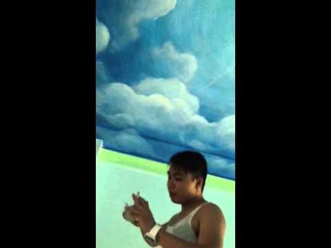 Hướng dẫn vẽ tranh tường 3d trần mây tại hà nội_Liên hệ vẽ tranh_0908766656_0973561366