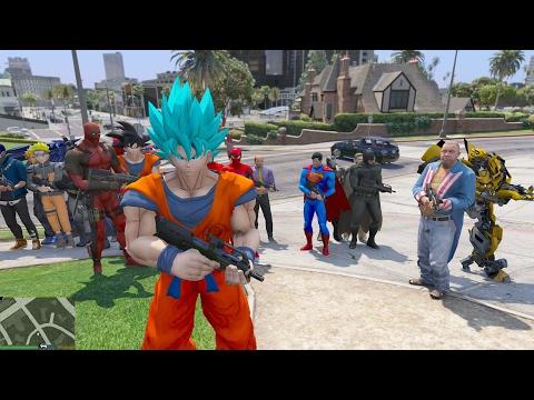 GTA 5 Mod - Super Saiyan Blue đánh nhau với Batman, Ai sẽ thắng?