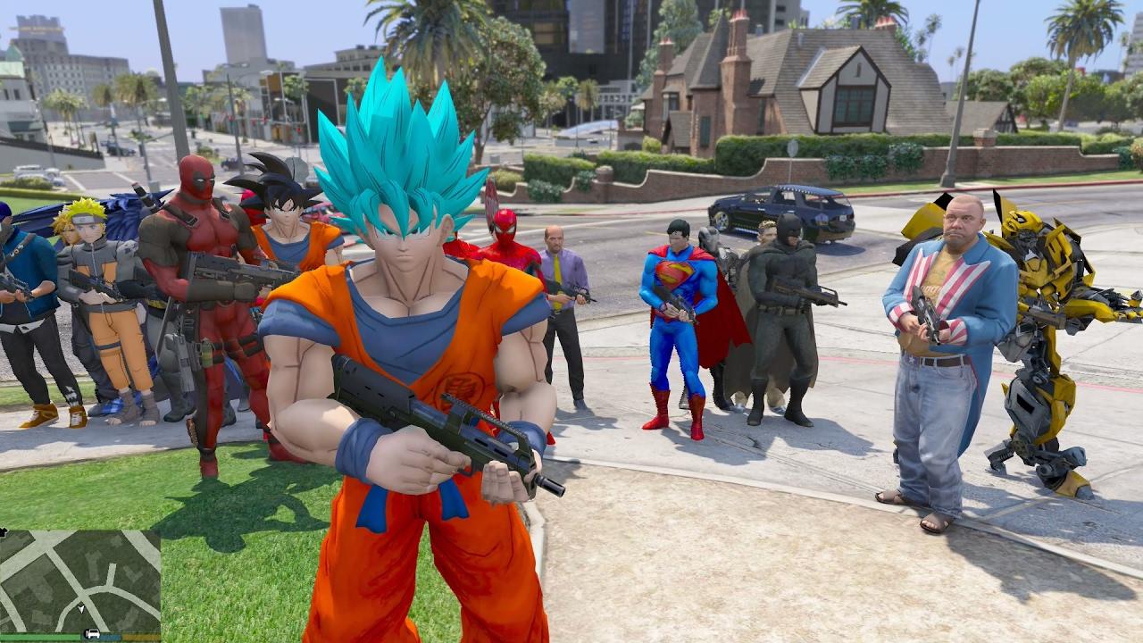 GTA 5 Mod – Super Saiyan Blue đánh nhau với Batman, Ai sẽ thắng?