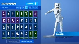 *ALL* BAILES and NEW GESTS with MARSHMELLO SKIN in FORTNITE