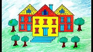 How to Draw House Coloring Pages | Drawing for Children Learning Colors for Toddlers