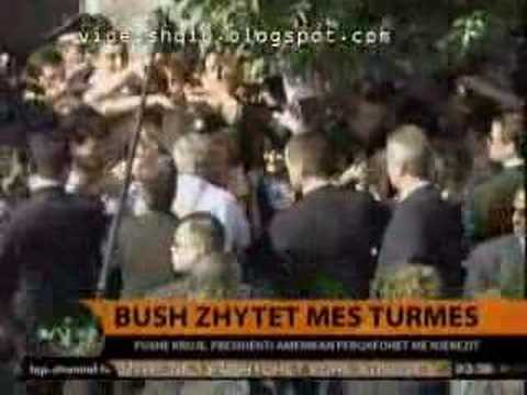 Bush in Albania 2007 - Cheering in Fushe Kruja