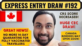 Express Entry Draw #192 For Canada PR | Canada CEC Draw | Dream Canada