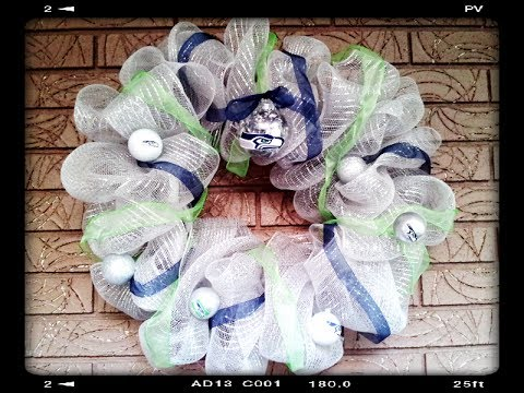 SEATTLE SEAHAWKS NFL  DIY Deco Geo Mesh Wreath GO HAWKS!