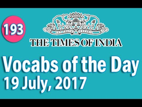 The Times of India Vocabulary (19 July, 2017) - Learn 10 New Words with Tricks | Day-193