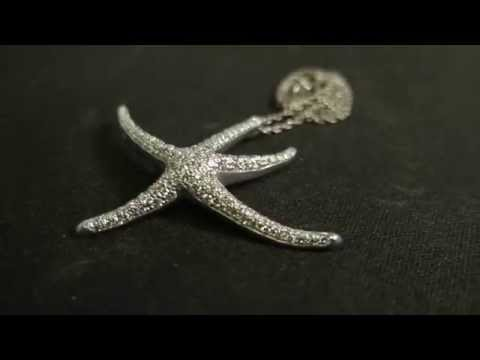 TIFFANY & CO ESTATE VINTAGE 1.25CT LARGE DIAMOND STARFISH PENDANT NECKLACE PLAT