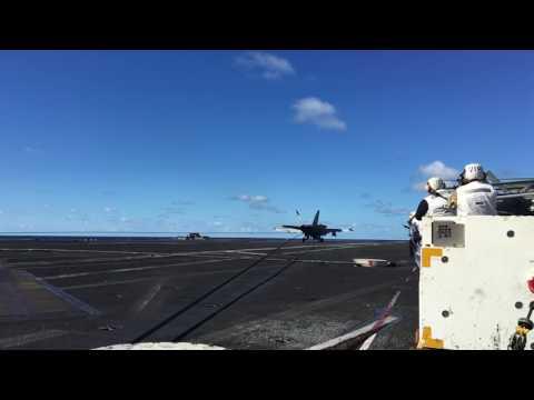 Super Hornet lands on USS Ronald Reagan