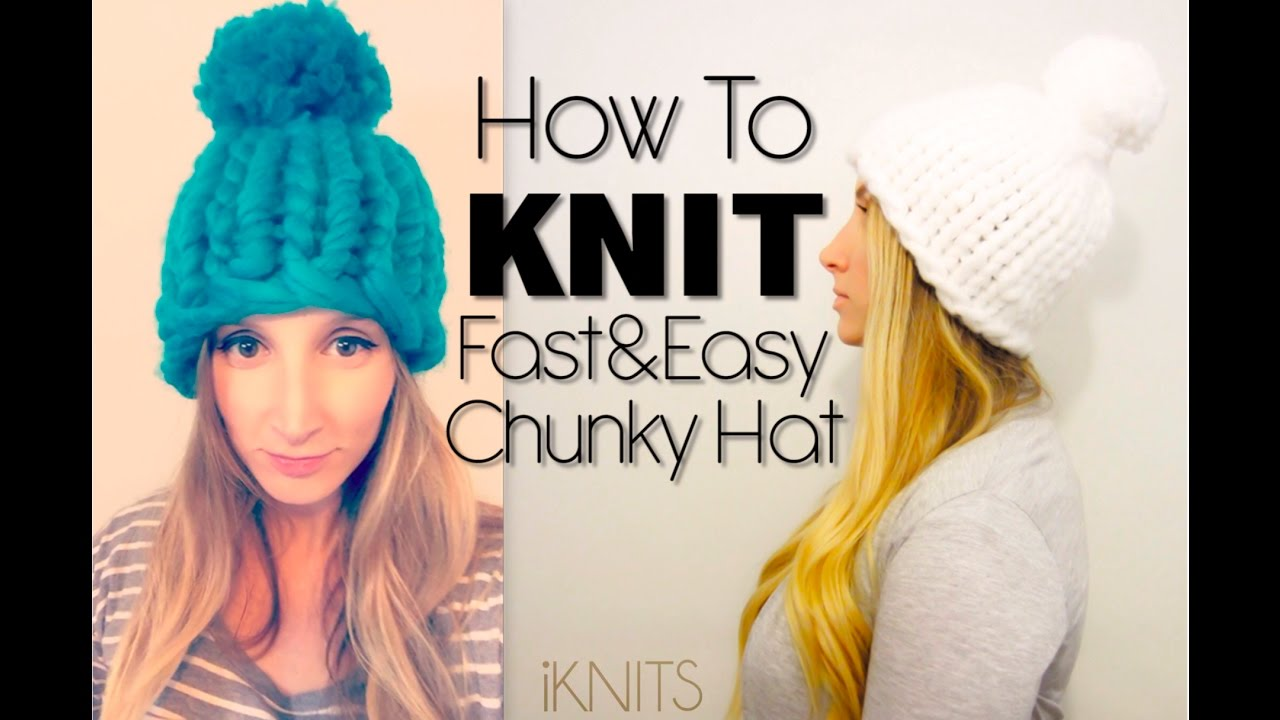 KNITTING TUTORIAL - FAST   EASY CHUNKY KNIT HAT - YouTube 1b6bbe1f5e6