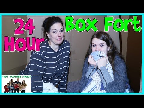24 Hour Overnight In Huge Box Fort Maze  That YouTub3 Family