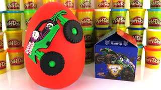 GRAVE DIGGER MONSTER JAM TRUCK GIANT PLAY DOH SURPRISE EGG MONSTER JAM MCDONALDS HAPPY MEAL TOYS