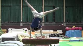 Pommel horse - dismount Besugo through handstand (G)