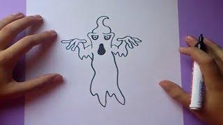 Como dibujar un fantasma paso a paso 5   How to draw a ghost 5