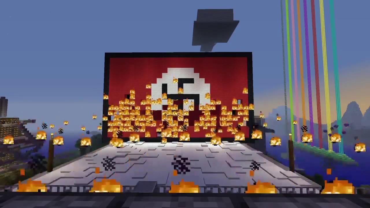 Burning the Nazi Flag in Minecraft