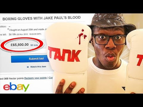 SELLING BOXING GLOVES WITH JAKE PAUL'S BLOOD