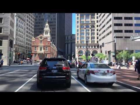 Driving Downtown Boston Massachusetts USA