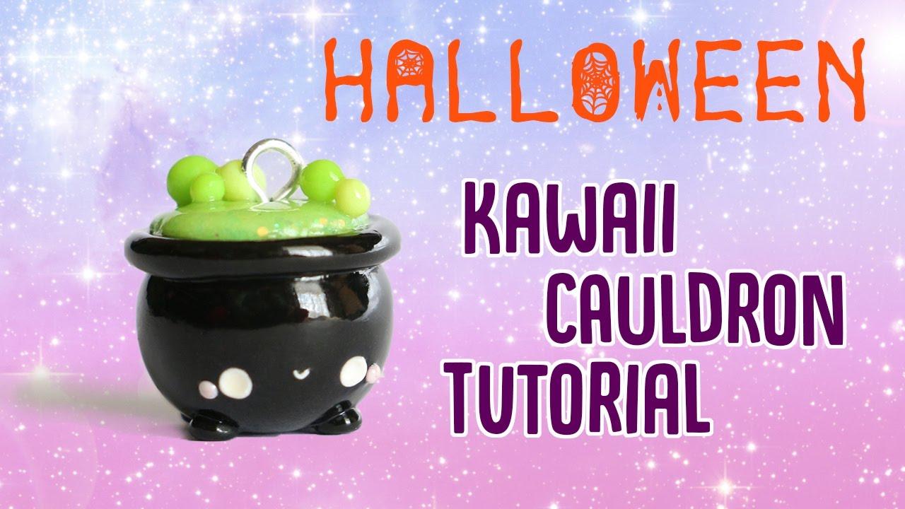 kawaii cauldron│polymer clay halloween tutorial - youtube