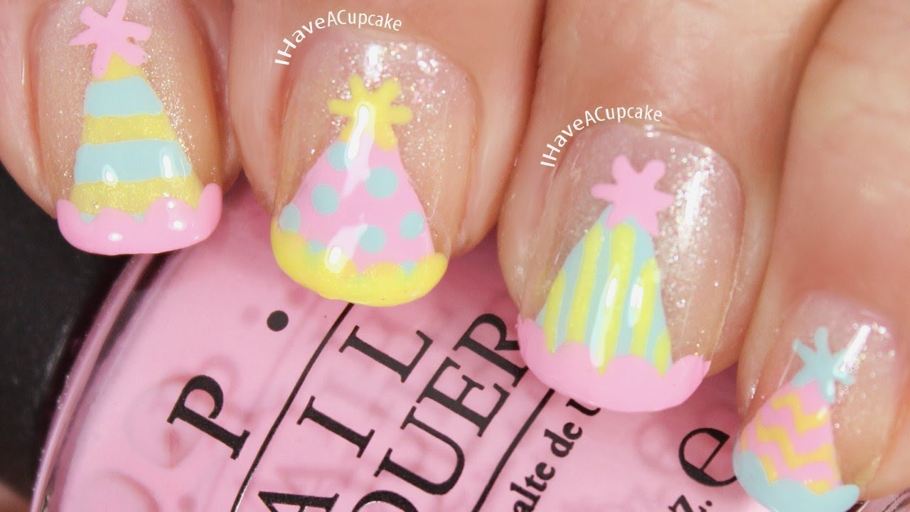 Party hat nail art youtube prinsesfo Gallery