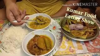Non Veg Lunch thali# Rice,Machher matha diye bhaja moong dal,Sojana data diye machher jhol, beguni