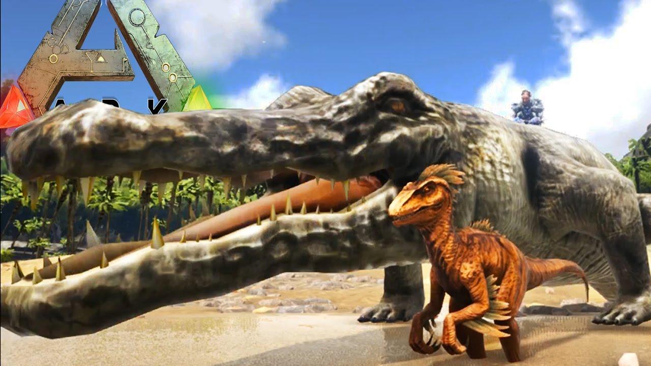Ark Survival Evolved Prehistoric Croc Can Pick Up A Trex Ark Modded Gameplay